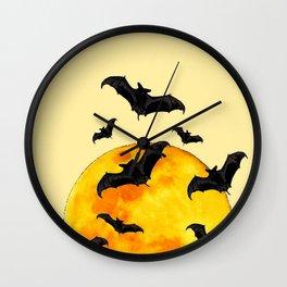 BLACK FLYING BATS FULL MOON ART Wall Clock