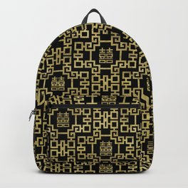 Chinese Pattern Double Happiness Symbol Gold on Black Backpack
