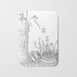 DIVING INTO THE MOUTH OF THE SEA BEAST Bath Mat