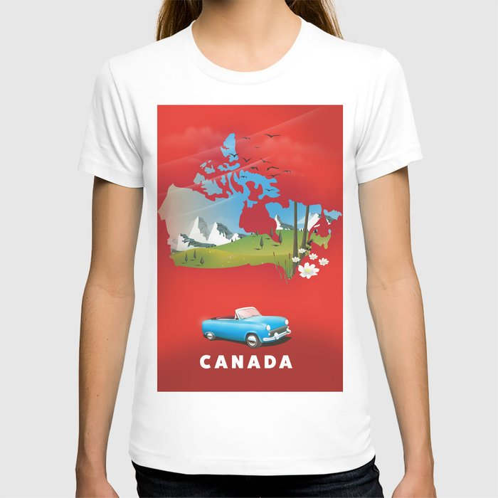 Canada illustrated travel poster. T-shirt