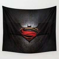 superman Wall Tapestries featuring Superman by neutrone