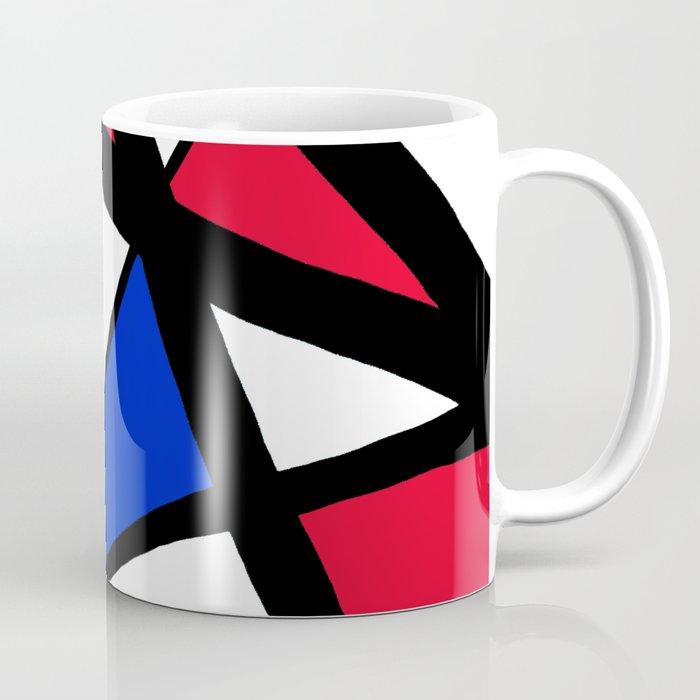Geometric Red, White, and Blue Stars Abstract Coffee Mug