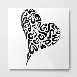 Heart blk Metal Print