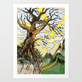 Tree, Mountains and Sun. Art Print