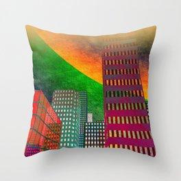 digicity orange curtain Throw Pillow
