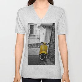 Yellow Vespa in Old Town Cannes Black and White Photography Unisex V-Neck