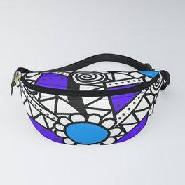 Doodle Art Flower - Pathways - Purple Blue Fanny Pack