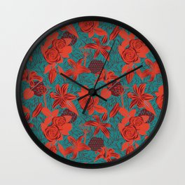 Linocut look in blue with roses Wall Clock