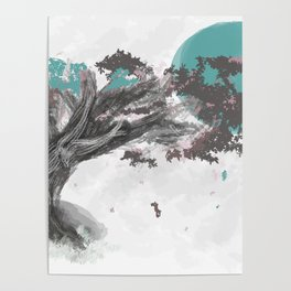 Turquoise Blossom Tree Poster