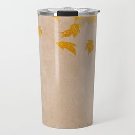 Gold leaves on grunge background - Autumn Sparkle Glitter design Travel Mug