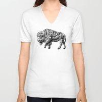 bison V-neck T-shirts featuring Bison by BIOWORKZ