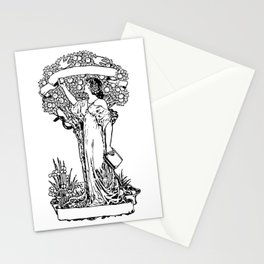 Woman with book in hand, at apple tree, with snake and two doves Stationery Cards