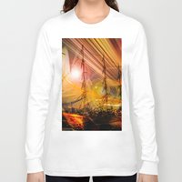 ships Long Sleeve T-shirts featuring Sailing ships sunset by Walter Zettl