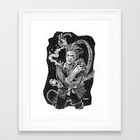 david bowie Framed Art Prints featuring David Bowie  by Ryan Barr