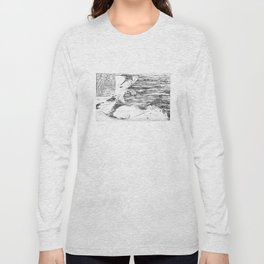 Vintage Cape Cod and NYC Steamboat Route Map BW Long Sleeve T-shirt