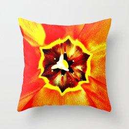 Orange Red Calyx Throw Pillow