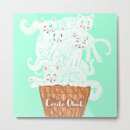 Ice cat (cream) Metal Print