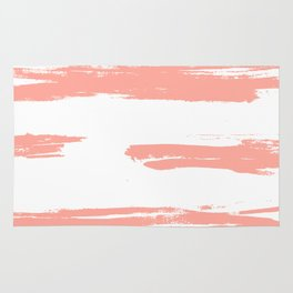 Pretty Pink Brush Stripes Horizontal Rug