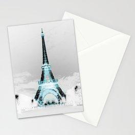Paris Black & White + Blue Stationery Cards