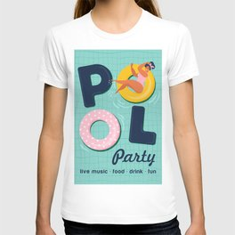 Summer gils on inflatable in swimming pool floats. T-shirt