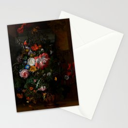 """Rachel Ruysch """"Roses, Convolvulus, Poppies, and Other Flowers in an Urn on a Stone Ledge"""" Stationery Cards"""