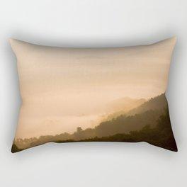 Modern Minimalist landscape Sepia Sunset Parallax Mountain Silhouette Rectangular Pillow