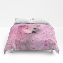 PINK WOLF FLOWER SPARKLE Comforters