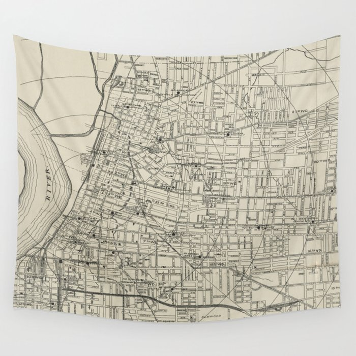 Vintage Map of Memphis Tennessee (1911) Wall Tapestry