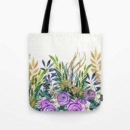 Gold Glitter Purple Garden Tote Bag