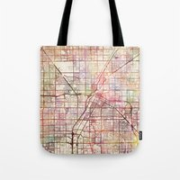 las vegas Tote Bags featuring Las Vegas by MapMapMaps.Watercolors
