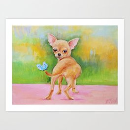 Chihuahua & Butterfly oil painting Art Print
