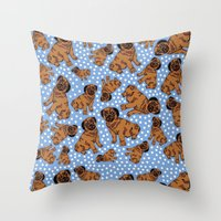 pugs Throw Pillows featuring spotty pugs by lindseyclare