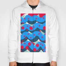 abstract pop art pattern design blue red Hoody