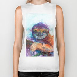 Sloth Mixed Media on Yupo Biker Tank