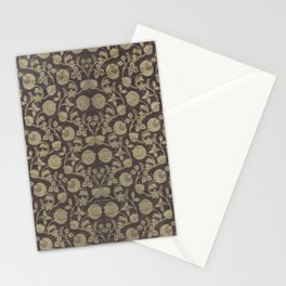 19th century Indian flowers, fruit, and foliage brocaded in gold metallic thread pattern. Stationery Cards