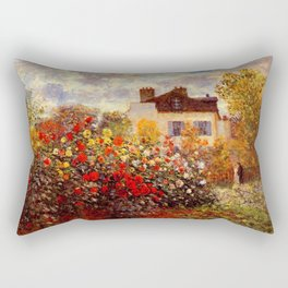 The Garden of Monet at Argenteuil, 1873 by Claude Monet Rectangular Pillow