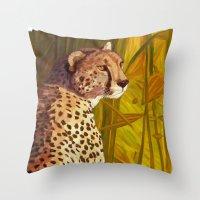 cheetah Throw Pillows featuring Cheetah by Michelle Behar