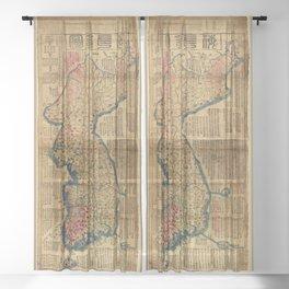 Map of Korea (1822) Sheer Curtain