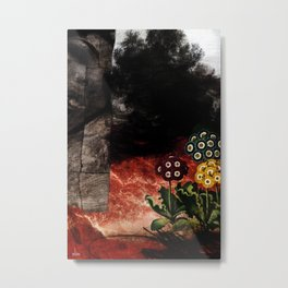 Fertile Flowers in Sterile Land - Paper Collage, Painting, and Digital treatment Metal Print