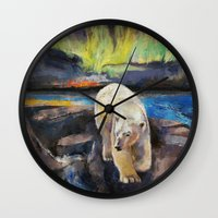 northern lights Wall Clocks featuring Northern Lights by Michael Creese