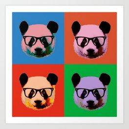 Panda with glasses in 4 Colors Art Print