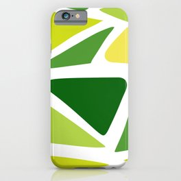 Green and yellow shapes iPhone Case