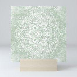 Mandala, Yoga Love, Sage Green, Boho Print Mini Art Print