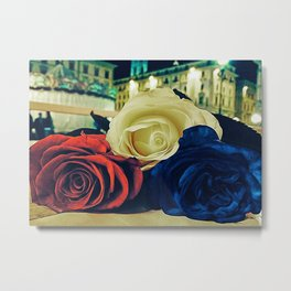 Bouquet of white rose, red rose, blue rose in the night Metal Print
