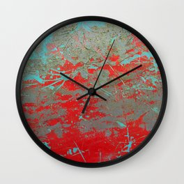 texture - aqua and red paint Wall Clock