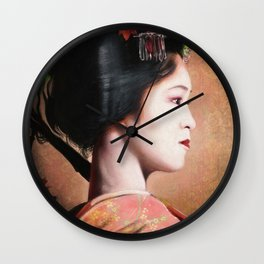 ' Beauty of Geisha ' - oriental japanese lady digital portrait painting Wall Clock