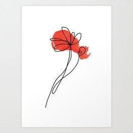 poppy line art Art Print