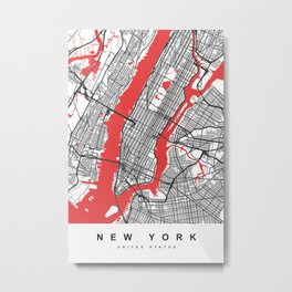 New York Map | White & Red Colors Metal Print