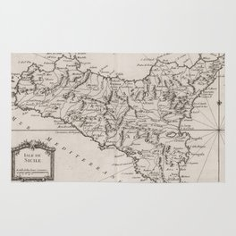 Vintage Map of Sicily Italy (1764) Rug