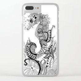 Zentangle Seahorse Clear iPhone Case